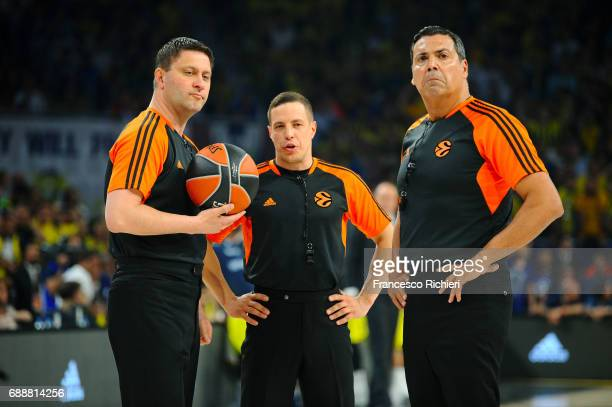 Referees during the Championship Game 2017 Turkish Airlines EuroLeague Final Four between Fenerbahce Istanbul v Olympiacos Piraeus at Sinan Erdem...