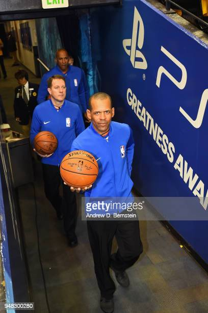 Referees Eric Lewis and Brent Barnaky enter the arena prior to Game Two of Round One of the 2018 NBA Playoffs on April 16 2018 at ORACLE Arena in...
