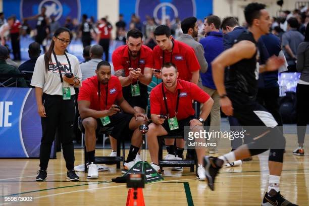 Referees huddle up to check stopwatch times during the NBA Draft Combine Day 1 at the Quest Multisport Center on May 17 2018 in Chicago Illinois NOTE...