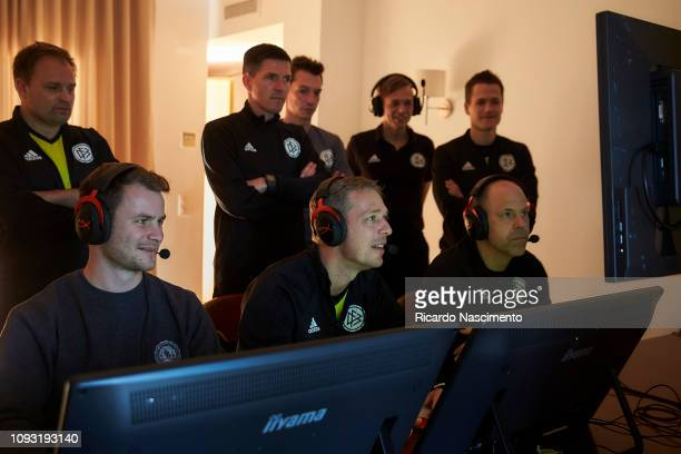 Referees in the room with the VAR video during the VAR training pratice of the DFB Referee Course on January 10, 2019 in Lagos, Portugal.