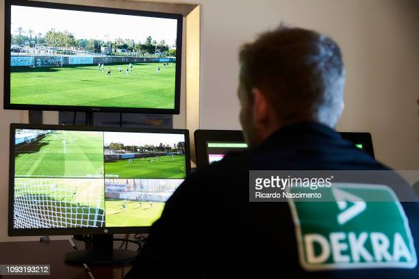 Referees in the room with the VAR video during the VAR training pratice of the DFB Referee Course on January 10 2019 in Lagos Portugal
