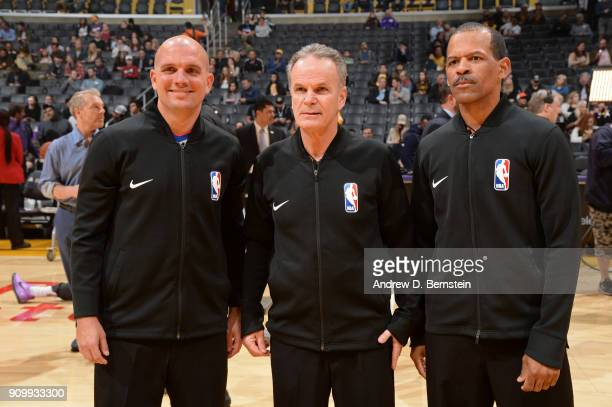 Referees Jacyn Goble Mike Callahan and Eric Lewis are seen before the game between the Indiana Pacers and the Los Angeles Lakers on January 19 2018...