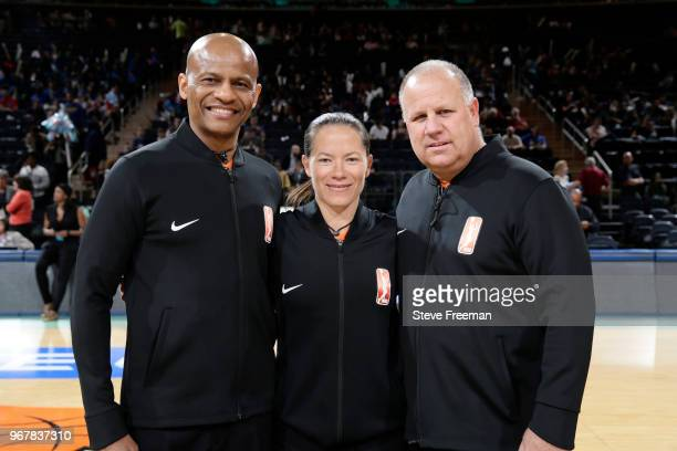 Referees Jeff Smith Maj Forsberg and Tom Mauer pose for a photo before the game between the Phoenix Mercury and the New York Liberty on June 5 2018...