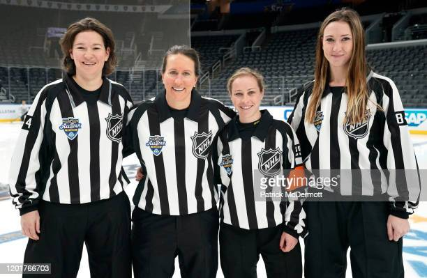 Referees Kendall Hanley Katie Guay Kelly Cooke and Kirsten Welsh pose for a photo after the Elite Women's practice during the 2020 NHL AllStar...