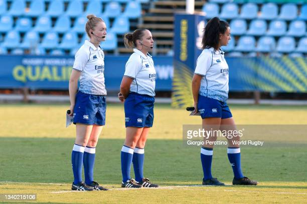 Referees look on during the Rugby World Cup 2021 Europe Qualifying match between Spain and Ireland at Stadio Sergio Lanfranchi on September 13, 2021...