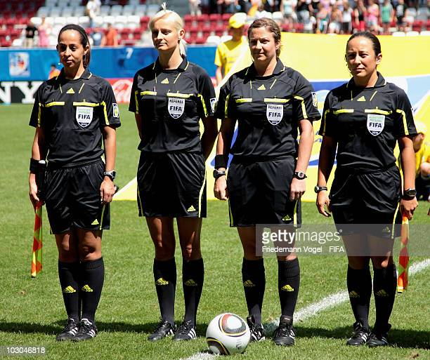 Referees Marlene Duffy Karolina RadzikJohan Carol Anne Chenard and Veronika Perez pose during the FIFA U20 Women's World Cup Group B match between...