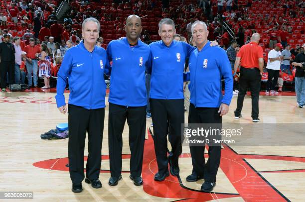 Referees Mike Callahan Derrick Stafford Scott Foster and Jason Phillips pose for a photo before Game Seven of the Western Conference Finals between...