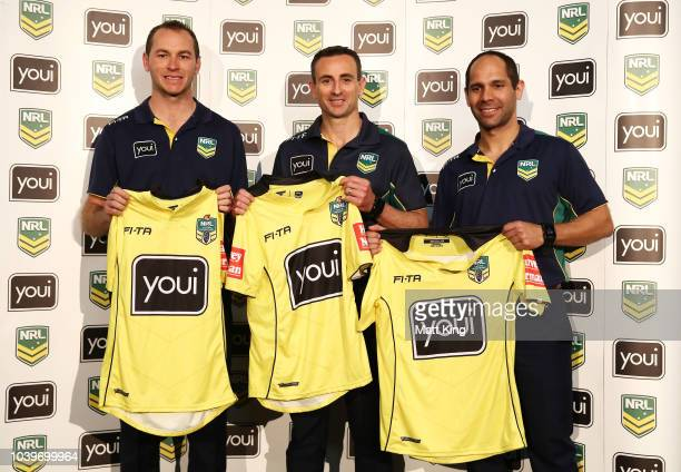 Referees Nick Beashel Ashley Klein and Gerard Sutton pose after being introduced as part of the NRL Grand Final officials during the NRL Grand Final...