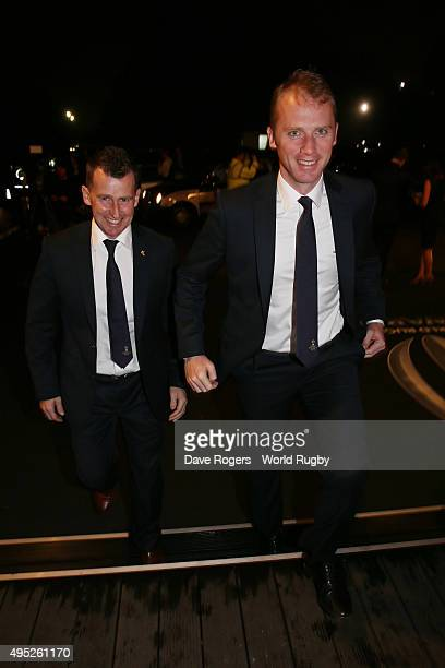 Referees Nigel Owens of Wales and Wayne Barnes of England arrive during the World Rugby Awards 2015 at Battersea Evolution on November 1 2015 in...