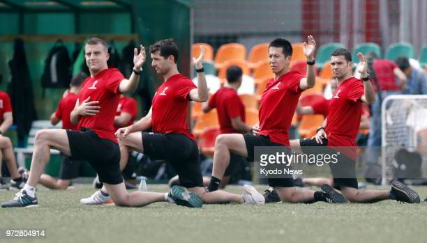 Referees participating in the World Cup finals in Russia train in Moscow on June 12 two days before the event's kickoff ==Kyodo