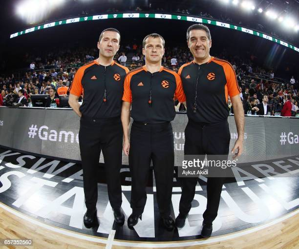 Referees pictured prior to the 2016/2017 Turkish Airlines EuroLeague Regular Season Round 28 game between Darussafaka Dogus Istanbul v Galatasaray...