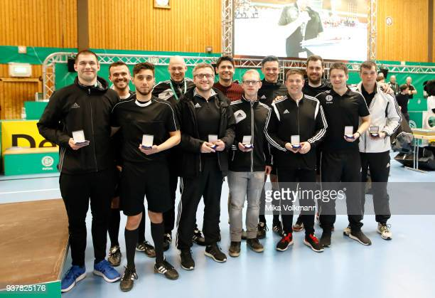 Referees poses during the DFB Indoor Football winning ceremony on March 25 2018 in Gevelsberg Germany