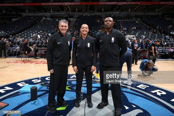 Referees Scott Foster Ashley MoyerGleich and Courtney Kirkland before the game between the Minnesota Timberwolves and Indiana Pacers on October 22...