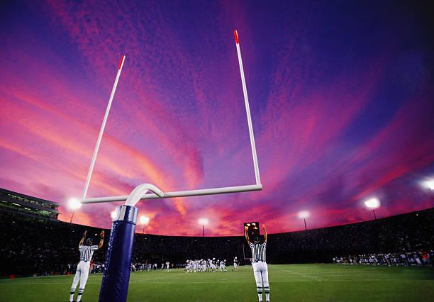 Referees Signaling Field Goal At American Football Game, Sunset Wall Art