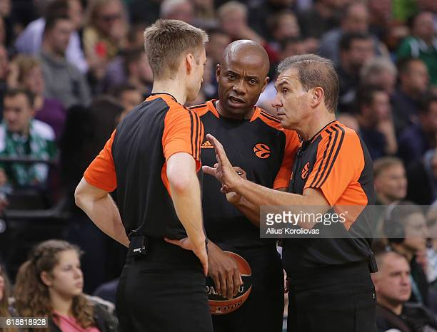 Referees speak during the 2016/2017 Turkish Airlines EuroLeague Regular Season Round 4 game between Zalgiris Kaunas v Maccabi Fox Tel Aviv at...