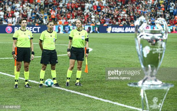 Referees Stephanie Frappart Manuela Nicolosi and Michelle O'Neill lead the UEFA Super Cup match between Liverpool and Chelsea at Vodafone Park in...