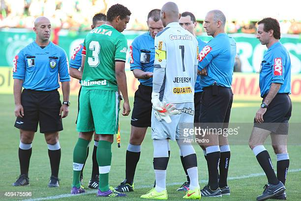Referees talking to players before the match between Chapecoense and Botafogo for the Brazilian Series A 2014 at Arena Conda Stadium on November 23...