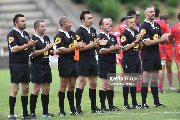 Referees tribute Pierre Camou and Louis Fajfrowski dead this week during the French Pro D2 match between Beziers and Soyaux Angouleme on August 17...