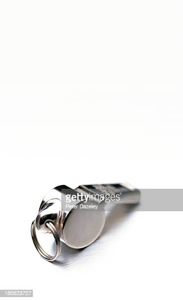 referees whistle on white background