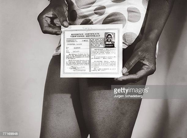 A reference certificate or pass issued to Christina Baloyi in South Africa 1956 All black South Africans over the age of 15 were required by law to...