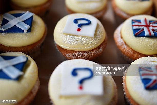 'Referendum cupcakes' featuring a Scottish Saltire a Union flag and a question mark symbolising the 'undecided voter' are pictured in a bakery in...