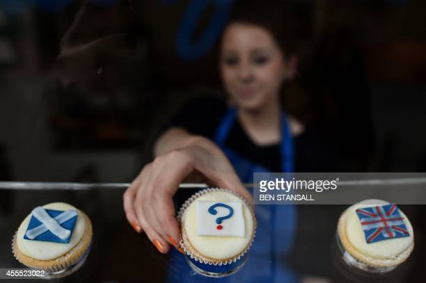 'Referendum cupcakes' featuring a Scottish Saltire, a Union flag and a question mark symbolising the 'undecided voter' are pictured at a bakery in...