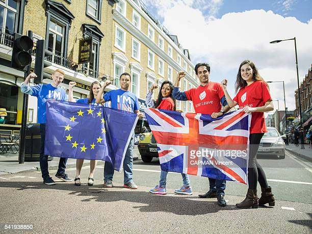 referendum in United Kingdom for the Europe outing Brexit the supporters of the In and Out compete at the Bayswater neighborhood they are...
