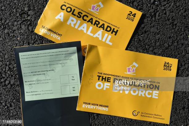 Referendum On Divorce leaflets seen in Irish and English After the referendum in 1995 divorce was legalised in Ireland but voters will go to the...