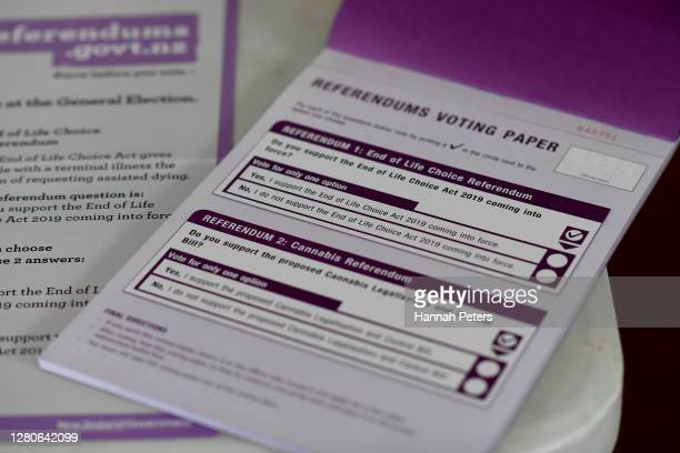 Referendum voting papers are seen on October 17, 2020 in Auckland, New Zealand. Voters head to the polls today to elect the 53rd Parliament of New...