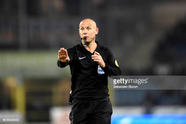 Referre Amaury Delerue during the Ligue 1 match between Strasbourg and Montpellier at on February 23 2018 in Strasbourg