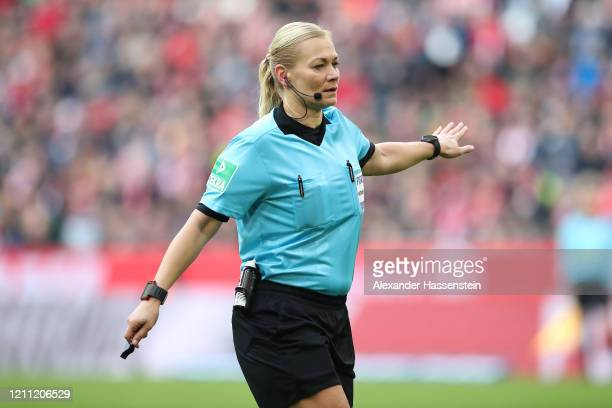 Referre Bibiana Steinhaus reacts during the Bundesliga match between FC Bayern Muenchen and FC Augsburg at Allianz Arena on March 08, 2020 in Munich,...