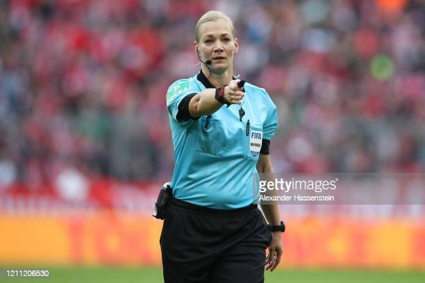 Referre Bibiana Steinhaus reacts during the Bundesliga match between FC Bayern Muenchen and FC Augsburg at Allianz Arena on March 08 2020 in Munich...