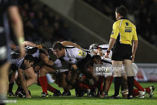 Referre Mr JP Doyle keeps a close eye on the scrum during the AVIVA Premiership match between Newcastle Falcons and Saracens at Kingston Park on...