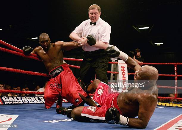 Referre Terry O'Connor Holds up Danny Willams as Matt Skelton is on the floor during the Commonwealth Heavyweight Championship Fight between Danny...