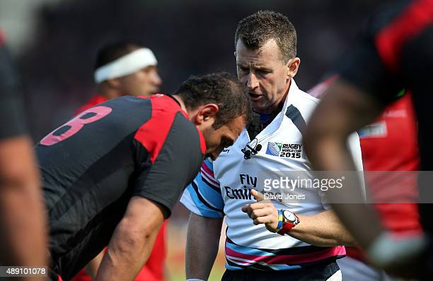 Referree Nigel Owen warns Mamuka Gorgodze of Georgia during the Group C Rugby World Cup match between Tonga and Georgia at Kingsholm Stadium Stadium...