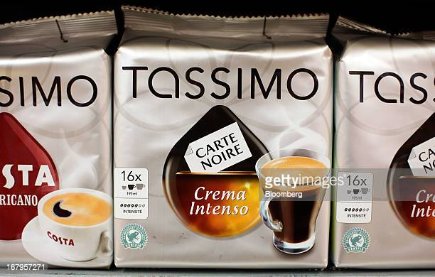Refill packets of coffee for single serve Tassimo coffee machines produced by Kraft Foods Inc sit displayed for sale inside a supermarket in...
