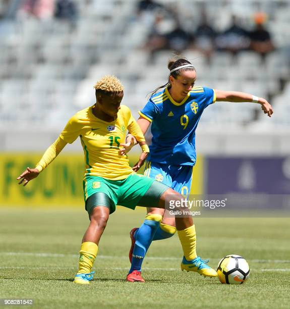 Refiloe Jane of South Africa and Kosovare Asllani of Sweden during the International Women's Friendly match between South Africa and Sweden at Cape...