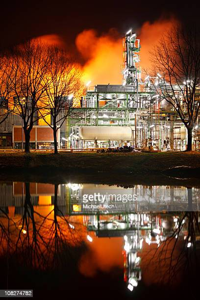 Refinery Distillation Tower At Night