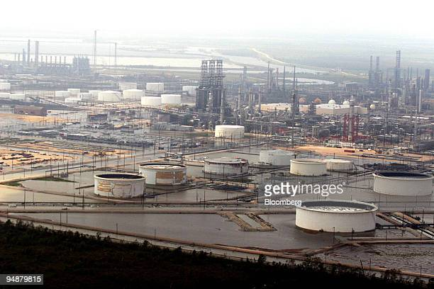 A refinery near Lake Charles Louisiana shows some flooding near the storage tanks Sunday September 25 2005 Crude oil and gasoline futures rose for a...