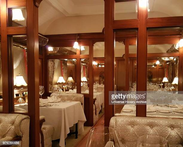 Refitted Orient Express carriage as a restaurant car in the Taj Palace Hotel, Delhi, India.
