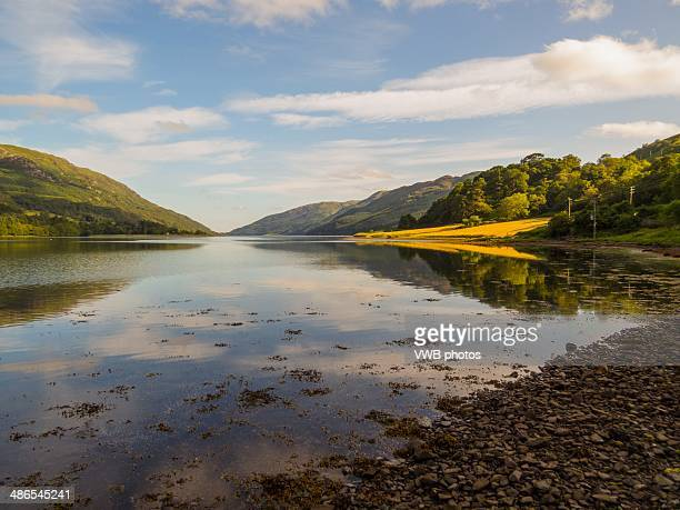 reflected light on loch striven - peninsula stock pictures, royalty-free photos & images