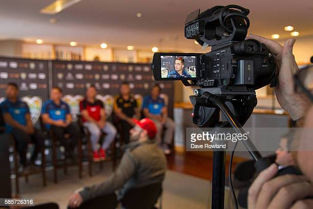 Reflected on a camera Blues player Ihaia West speaks to the media during the Rugby 10's Launch at Spencer on Byron Hotel on August 4 2016 in Auckland...
