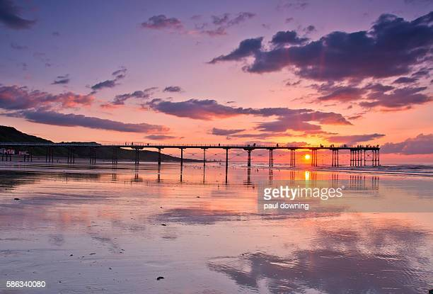 reflecting on a lovely evening - saltburn stock photos and pictures