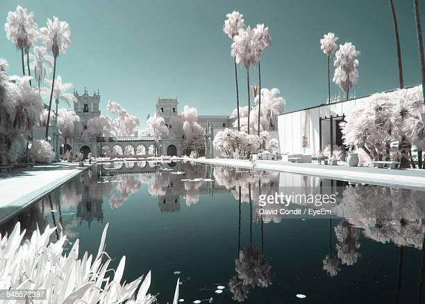 Reflecting Pool At Balboa Park Against Clear Sky