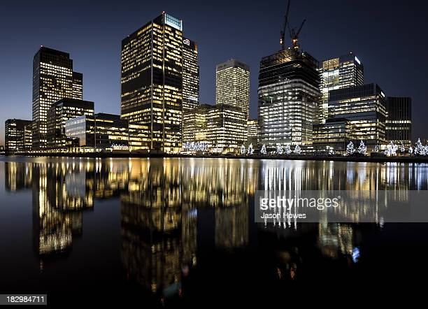 CONTENT] Reflecting skyscrapers at Canary Wharf London UK home to the financial banking sector