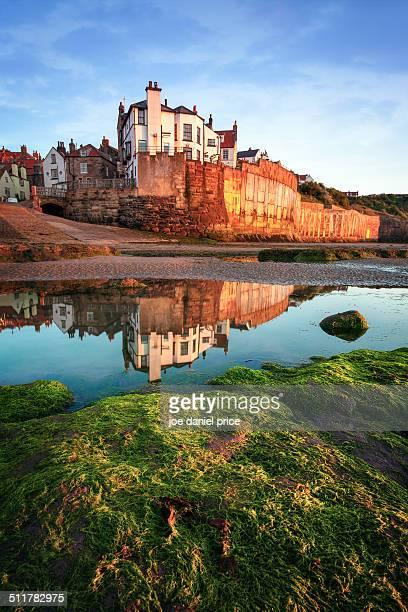 reflection at robin hood's bay, yorkshire, england - ヨークシャー ストックフォトと画像