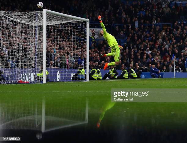 A reflection can be seen as Joe Hart of West Ham United makes a save during the Premier League match between Chelsea and West Ham United at Stamford...