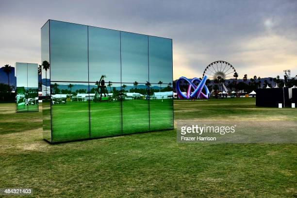 Reflection Field art installation by Phillip K Smith Lightweaver art installation by Alexis Rochas and the Ferris wheel are seen during day 1 of the...