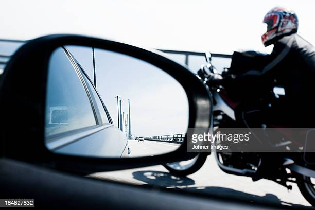 reflection in car mirror - oresund region stock photos and pictures