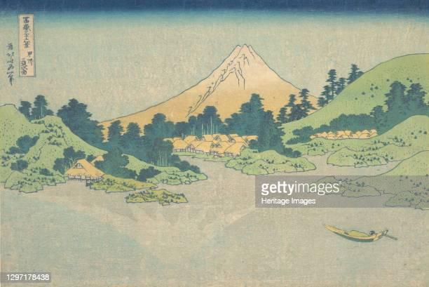 Reflection in Lake at Misaka in Kai Province , from the series Thirty-six Views of Mount Fuji , circa 1830-32. Artist Hokusai.